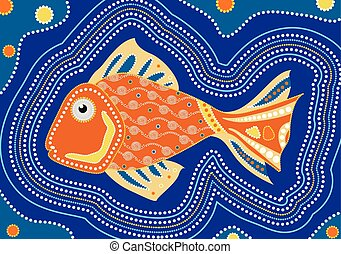 Aboriginal fish dot painting - Vector illustration.