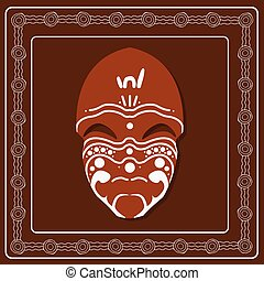 Aboriginal mask. Aboriginal art vector painting.