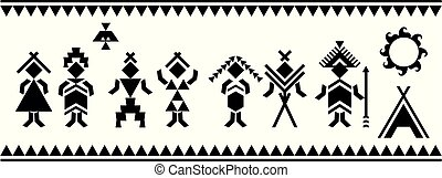 Aboriginal people silhouettes vector symbols. Ethnic elements. Vector and illustration.