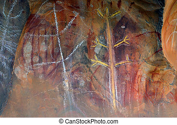Aboriginal rock art thousands of years old, from Northern...