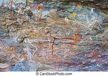 Aboriginal rock paintings in Kakadu National Park, Australia.