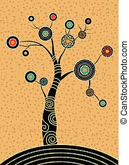 Aboriginal tree, Aboriginal art vector painting with tree. ...