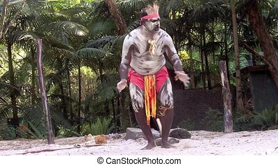 Aboriginal warrior man sing
