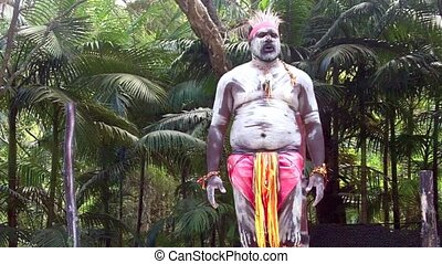 Aboriginal warrior man sing - Yugambeh Aboriginal warrior...