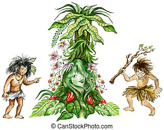 Aboriginals in of jungle - Illustration of two aboriginals...