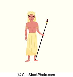 Aborigine warrior character with spear in traditional etnic clothes and headdress vector Illustration on a white background