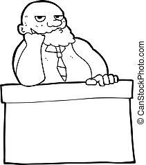 aborrecido, caricatura, homem, escrivaninha