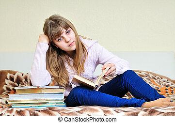 aborrecido, menina, com, livros
