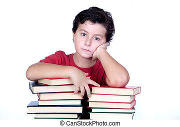 aborrecido, torre, livros, estudante