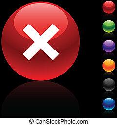 Abort glossy icon. Vector illustration. .