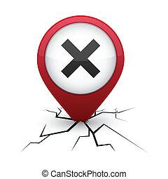 Abort red icon in crack. - Abort modern icon. Vector ...