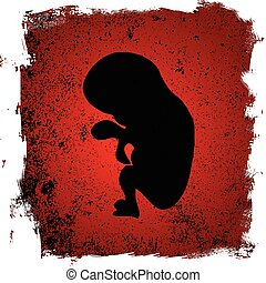 Abortion - A blood red background beneath a fetus silhouette