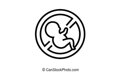 abortion medical procedure animated black icon. abortion medical procedure sign. isolated on white background