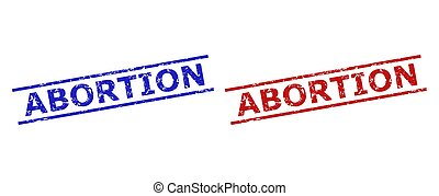 Blue and red ABORTION watermarks on a white background. Flat vector grunge watermarks with ABORTION title between parallel lines. Watermarks with grunge surface.