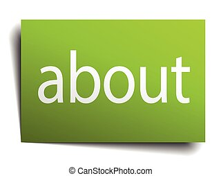 about green paper sign on white background