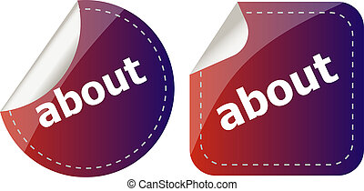 about stickers set icon button isolated on white