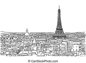 About the Roofs of Paris Handmade Drawing