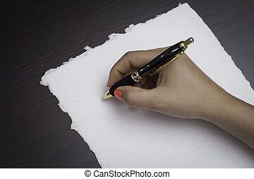 About to write - Woman about to write on a recycle black ...