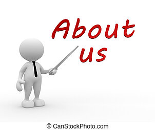 About us! - 3d people - man, person pointing a text ABOUT...