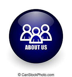About us blue glossy ball web icon on white background. Round 3d render button.