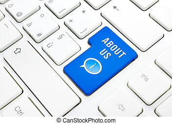 About us business concept, blue enter button or key on white keyboard