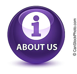About us glassy purple round button