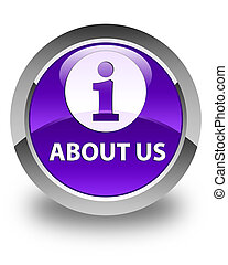 About us glossy purple round button