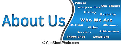 An banner image with About Us text and related keywords.