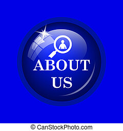 About us icon. Internet button on blue background.