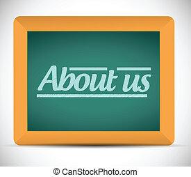 about us message written on a blackboard.