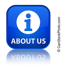 About us special blue square button