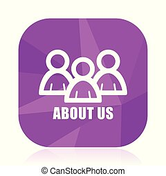 About us violet square vector web icon. Internet design and webdesign button in eps 10. Mobile application sign on white background.