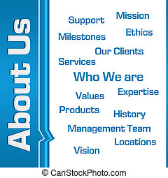 About Us Wordcloud Side Text Blue - About us concept image...
