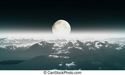 above clouds full moon