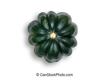 Above Head view of Acorn Squash White Background