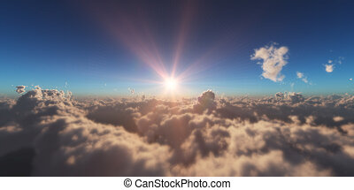 above in clouds sunset