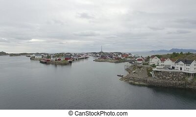 Above Lofoten Henningsv?r islands - Drone aerial shot from ...