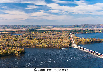 Above Mississippi River and Dam at Alma