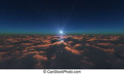 above over clouds sunrise