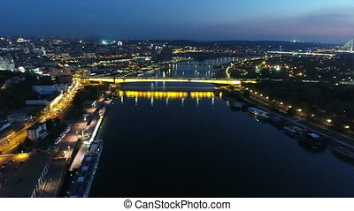 Above river night aerial 3 - Above river Sava night aerial