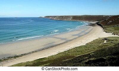 Above Sennen Cove beach, Cornwall. - Sennen Cove beach and...