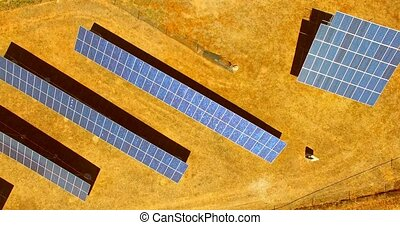 Above solar panels - Aerial view of solar panels in Spain....