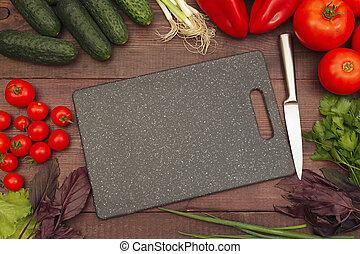 above., table., légumes, planche, bois, vue, confection, couteau, découpage, vert, salade