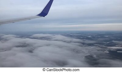 Above The Cloud Through The Airplane Window