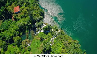 Above the Roski Slap waterfall, aerial shot - Copter aerial...