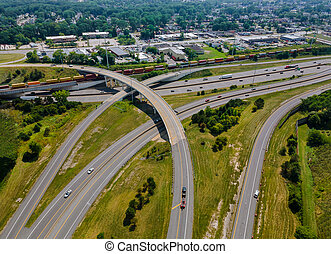 Above transport junction road aerial view with car movement transport industry Cleveland Ohio