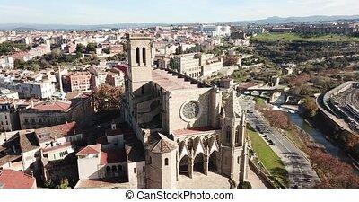 Above view Collegiate Basilica of Santa Maria in Manresa, Spain
