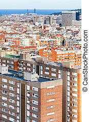 above view of apartment buildings in Barcelona