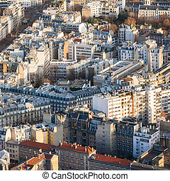 above view of apartment houses in Paris city
