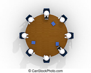 Above view of business team discussing at meeting